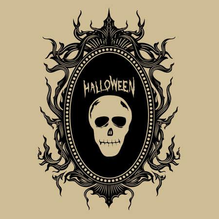 vintage hand draw frame halloween stickers vector illustration Ilustração