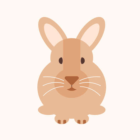 Rabbit flat design cartoon isolated vector Ilustração