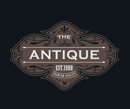 Antique label typography  vintage frame design vector