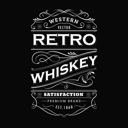Whiskey label vintage hand drawn border typography blackboard vector Ilustração
