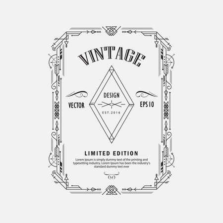 vintage linear thin line geometric shape art deco retro design elements with frame corner badge Banco de Imagens - 155474547