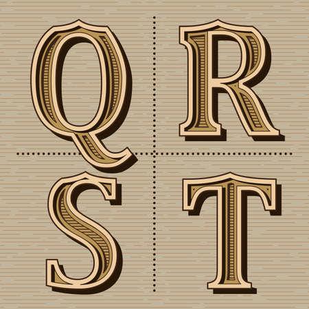 Western alphabet design letters vintage vector (q, r, s, t) Ilustração