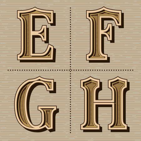 Western alphabet design letters vintage vector (e, f, g, h)