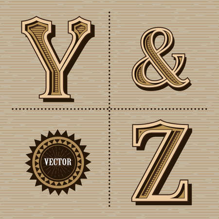 Western alphabet design letters vintage vector (y&z) Banco de Imagens - 155474587