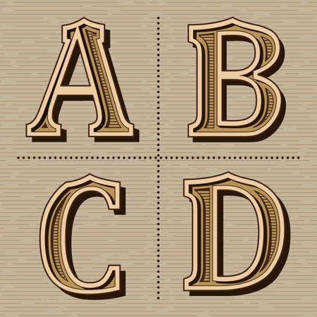 Western alphabet design letters vintage vector (a, b, c, d) Banco de Imagens - 155474589