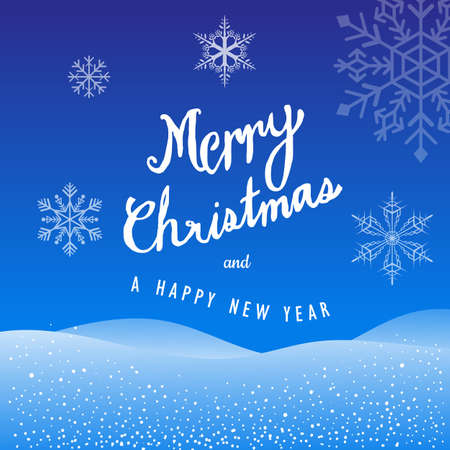 Merry Christmas and Happy New Year Hand Drawn snowflakes background vector illustration