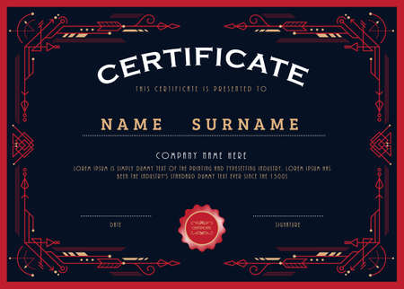 Certificate achievement design line art deco frame border vector template Banco de Imagens - 155425492
