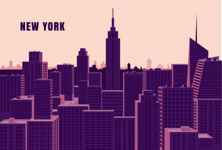 New York cityscape Flat vector illustration
