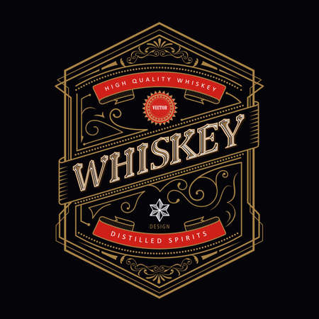 Whiskey antique frame Vintage border engraving western retro label vector illustration Ilustração