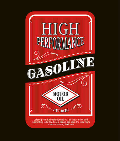 Vintage label gasoline sign retro vector illustration Ilustração