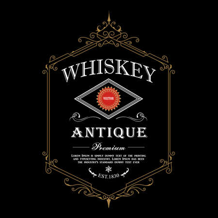 antique frame whiskey label Vintage border engraving western retro vector illustration Ilustração