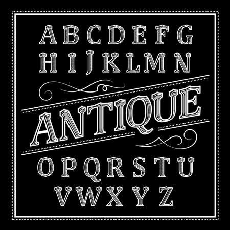 Alphabet antique Letters Vintage Set Western Vector Ilustração