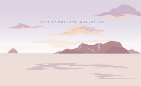 flat landscape sea background vector wallpaper illustration Ilustração