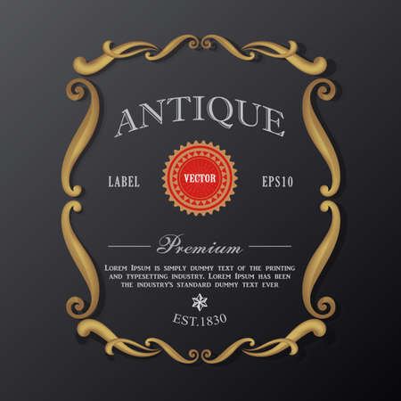 Antique gold Vintage frame border retro engraving label vector illustration
