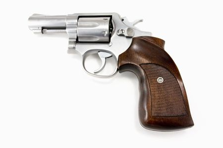 Stainless Steel Revolver isolated on white background photo