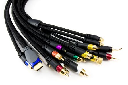 definitions: Many Different Audio & Video Cables Stock Photo