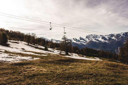 swiss alps: Sunny ski lift in Swiss Alps