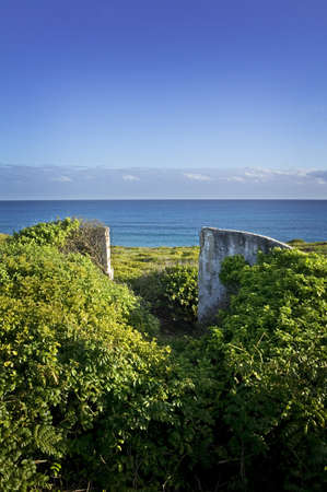 gulf of mexico: Abandoned ruins and entry way overlooking the Gulf of Mexico