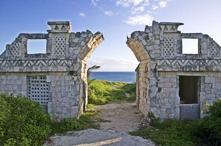 Abandoned ruins and entry way overlooking the Gulf of Mexico