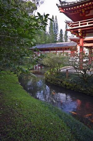 koi pond: Byodo-In Temple & Koi Pond, Oahu Stock Photo