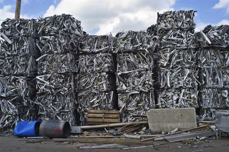 Scrap Aluminum Bales Stacked Sky High Stock Photo - 7112764