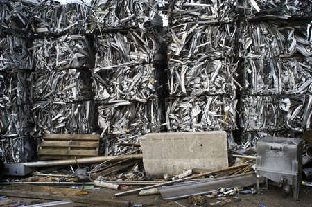 Scrap Aluminum Bales Stacked Sky High Stock Photo - 7112784