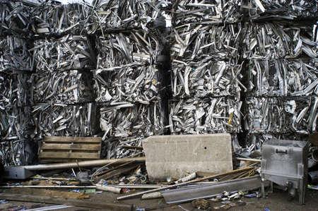 Scrap Aluminum Bales Stacked Sky High Stock Photo - 7112784