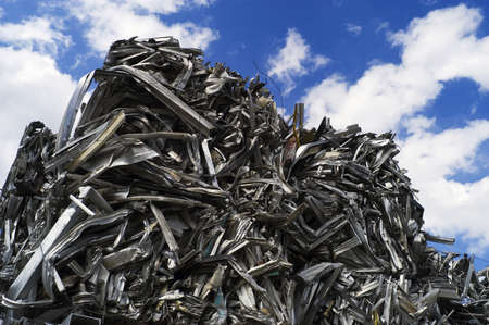 aluminum: Recycled Aluminum Cubes stacked Sky High Stock Photo