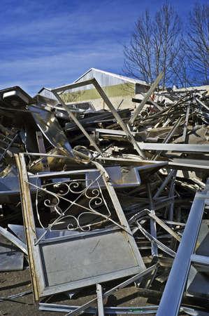 Scrap Aluminum Screen Doors Piled High Stock Photo - 7112763