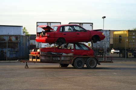 Two Red Cars ready for ReCycling photo