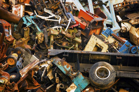 discarded metal: Heavy Industrial Scrap Metal Mountain for Recycling