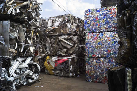 plastic recycling: Scrap Metal Baled and Ready for ReCycling Stock Photo