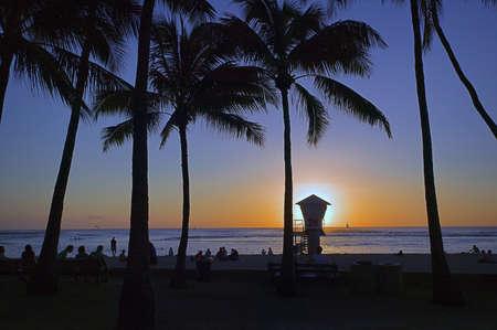 Sunset @ Waikiki Beach on Oahu, Hawaiian Islands photo