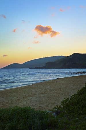 Wawamalu Beach Sunset, Oahu, Hawaii Stock Photo