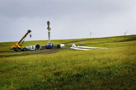 Wind Turbines under Construction, Big Island of Hawaii photo