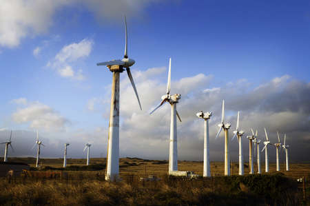 clean energy: Wind Turbines and Clouds, Big Island of Hawaii