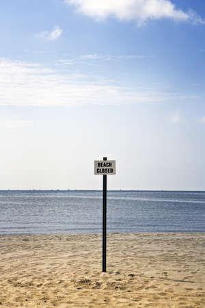 Beach Closed Sign, Mississippi Gulf Coast Stock Photo
