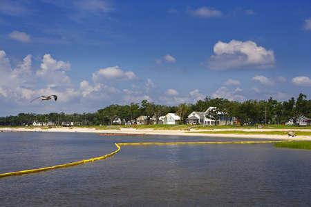 Yellow Boom & Quiet Bay, Gulf Coast Stock Photo