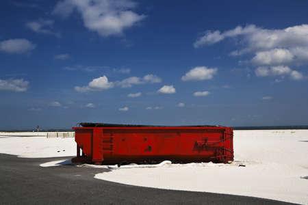 Big Red Dumpster & White Sands, Gulf Coast Beach