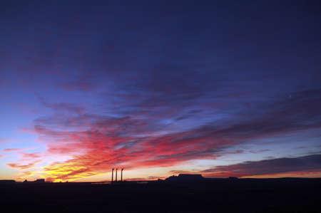 3 Smoke Stacks at Sunrise in Page, Arizona Stock Photo - 7929140