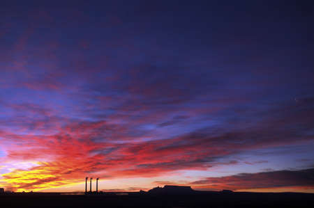 3 Smoke Stacks at Sunrise in Page, Arizona Stock Photo - 7929137