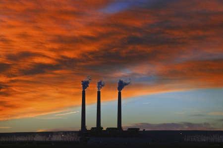 3 Smoke Stacks at Sunrise in Page, Arizona