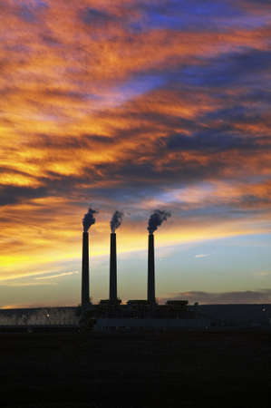 3 Smoke Stacks at Sunrise in Page, Arizona Stock Photo - 7929146