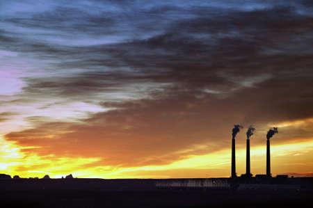 3 Smoke Stacks at Sunrise in Page, Arizona Stock Photo - 7929141