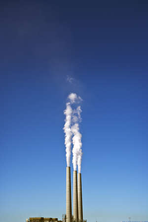 3 Smoke Stacks at a Power Plant Stock Photo - 8396699