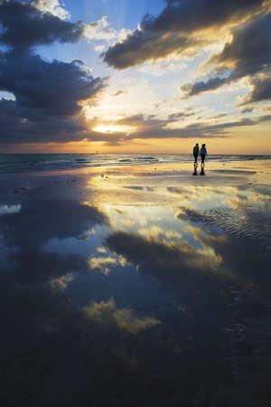 resting: Seista Key Beach Sunset Stock Photo