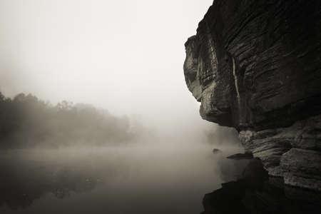 Foggy River Morning Stock Photo