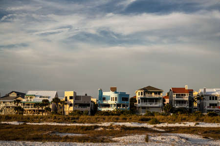 Beach Front Houses Stock Photo