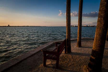Quiet Bench Seaside Stock Photo