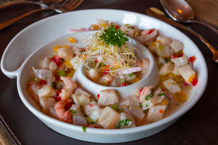 haute ceviche of white fish, Gourmet food, in Chile. Reklamní fotografie